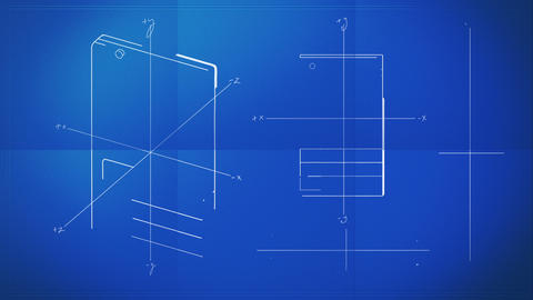 Classic Smartphone Technical Drawing Blueprint Stock Video Footage