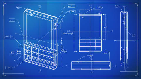 Classic Smartphone Technical Drawing Blueprint Animation