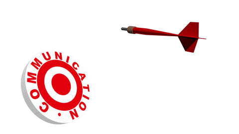 3d Dart Hitting Communication Bullseye Animation