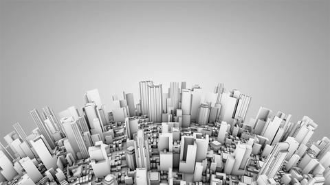 Globe with skyscrapers, white tint Stock Video Footage