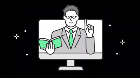 Teacher teaching study to users on online. alpha channel Animation