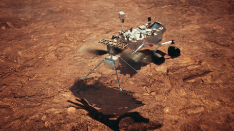 Vehicle and Helicopter on Mars in search of water Animation