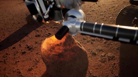 Vehicle on the ground of Mars examining rocks Animation