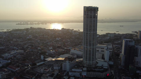 Aerial view KOMTAR building and Georgetown old building Live Action