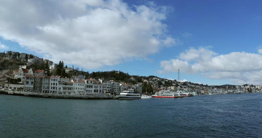 Ultra wide view from the boat on Bosphorus coast Live Action