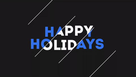 Animation text Happy Holidays on black fashion and minimalism background Animation