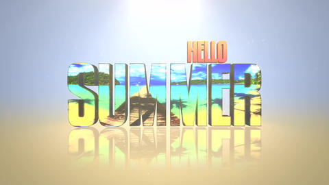 Animated text Hello Summer with mirror effect, summer sea background Animation