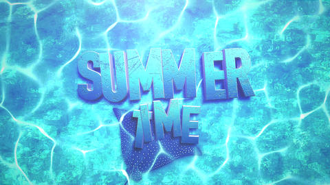 Animated text Summer Time and closeup stingray in underwater world, summer background Animation