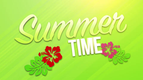Animated text Summer Time with sun rays and flowers, green summer background Animation