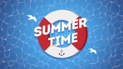 Animated text Summer Time with gulls and swimming circle, blue summer background Animation