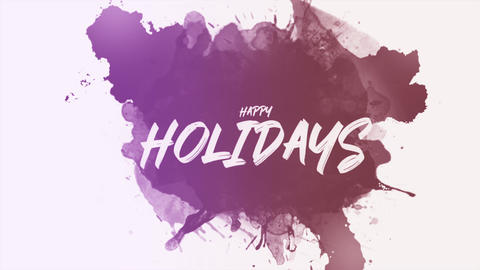 Animation text Happy Holidays on pink hipster and grunge background with splashes Animation