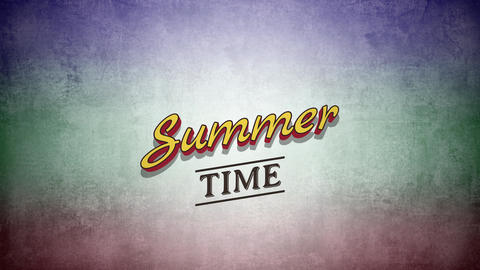 Animated text Summer Time on grunge summer background Animation