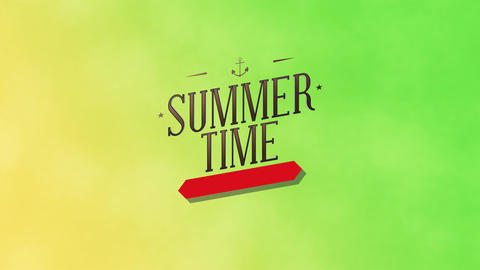 Animated text Summer Time with gradient green summer background Animation