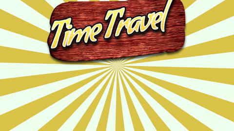 Animated text Time to Travel with sun rays and wood for text, yellow summer background Animation