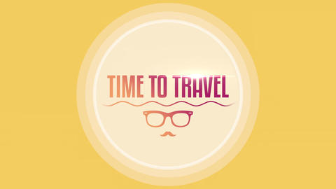 Animated text Time to Travel with sun glasses and sea waves, yellow summer background Animation