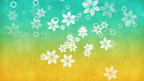 Motion fly flowers, summer green background Animation