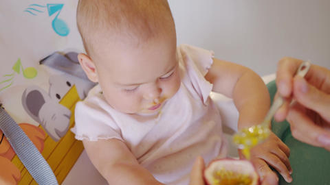Woman feeding child with spoon. Mom feed baby with pureed food. Mom feeding kid Live Action