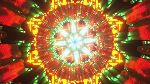 Flower pattern 3d seamless vj loop trippy psychedelic abstract visual mandala tunnel with light Animation
