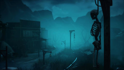 A scary abandoned city with ancient skeletons hanging from the gallows. Animation for fantasy, Animation