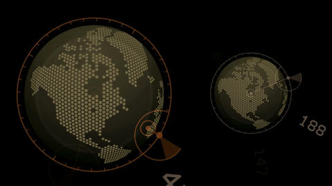 global GPS,earth map,city map,military Radar GPS screen... Stock Video Footage