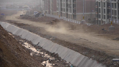truck running on construction site Stock Video Footage