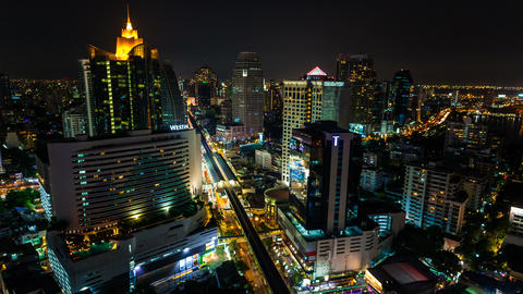 1080 - CITY NIGHT SKYLINE TIMELAPSE Stock Video Footage