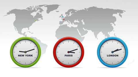 New York, Paris, London Time zones Stock Video Footage
