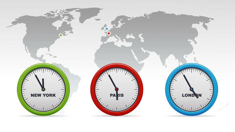 New York, Paris, London Time zones Animation