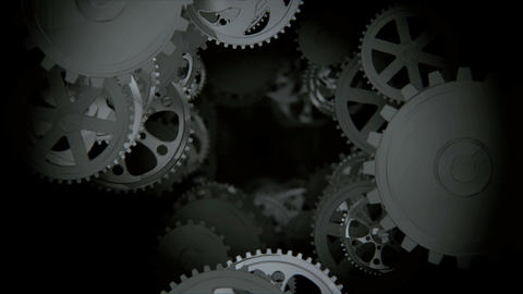 Camera moving through spinning gears and cogs Stock Video Footage