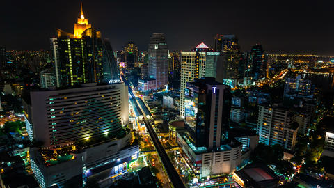 4k - CITY NIGHT SKYLINE TIMELAPSE Stock Video Footage