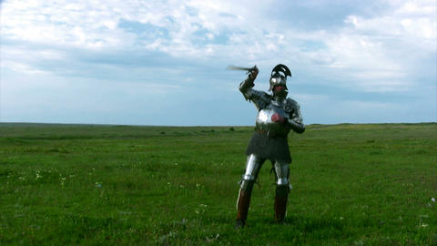 Knight in armor with a sword Stock Video Footage