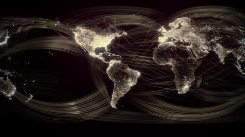 Networked World Seamless Loop Gold Stock Video Footage