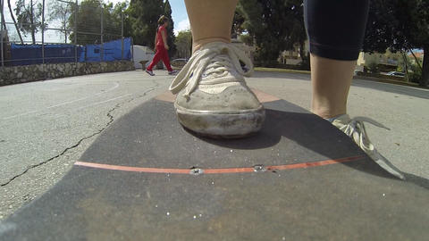 Sport Skateboard skateboarding low POV happy fun... Stock Video Footage