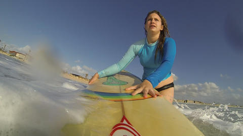 A surfer water sport surfing beach waves wave extreme... Stock Video Footage