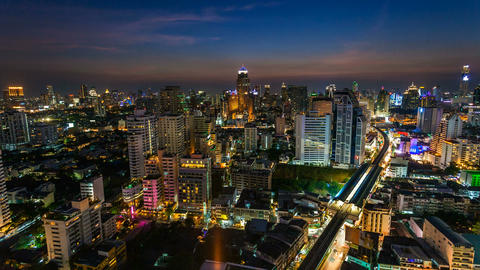 1080 - BANGKOK SUNSET SKYLINE - TIME LAPSE Stock Video Footage