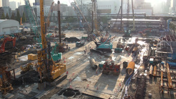 Construction site, monorail, transport, industry, Stock Video Footage