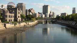Skyline of Hiroshima and the 'Atomic Bomb Dome' al Stock Video Footage