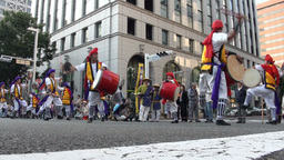 Traditional Japanese drum band Stock Video Footage