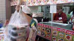 Japanese fast food (take away) restaurant Stock Video Footage