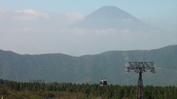 Cable car, forest, and the beautiful Mount Fuji in Stock Video Footage
