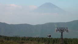 Cable car, forest, and the beautiful Mount Fuji in Footage
