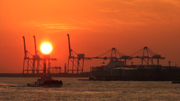 Sunset over the container terminal of Osaka, a maj Footage