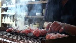 Fresh yakitori (chicken kebabs) in Japanese izakay Footage