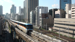 Incoming monorail in Tokyo, Japan Stock Video Footage