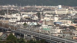 Shinkansen, bullet train, city, urban, skyline, Ja Stock Video Footage