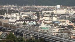 Shinkansen, bullet train, city, urban, skyline, Ja Stock Video Footage