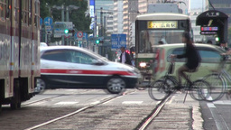 Busy intersection in Hiroshima, Japan Stock Video Footage