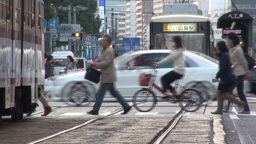 Busy intersection in Hiroshima, Japan Footage