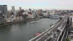 Congested ring road, skyline, tourist boat, river, Footage