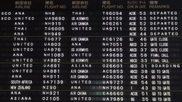 Schedule board in English and Japanese at Narita a Stock Video Footage